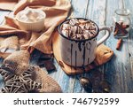 hot chocolate with marshmallow | Shutterstock . vector #746792599