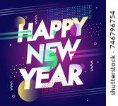 new year 2018 celebration ... | Shutterstock .eps vector #746796754