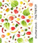 food collage of fresh... | Shutterstock . vector #746798929