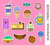set of kawaii food characters. ... | Shutterstock . vector #746801638