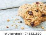 pumpkin  oat cookies with...   Shutterstock . vector #746821810