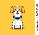 yellow puppy vector logo... | Shutterstock .eps vector #746833318