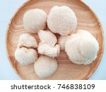 Small photo of Monkey's head mushroom on wood dish with white background