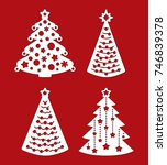 set of christmas trees with... | Shutterstock .eps vector #746839378