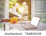 desk of architectural project... | Shutterstock . vector #746843140