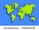 world map vector. blue color... | Shutterstock .eps vector #746844439