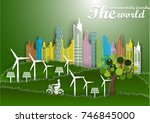 illustration of eco and world... | Shutterstock .eps vector #746845000