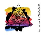 rose flower with sacred... | Shutterstock .eps vector #746845498