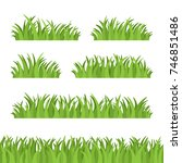 set of green grass  tuft and... | Shutterstock .eps vector #746851486