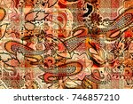 patchwork pattern with paisley... | Shutterstock . vector #746857210