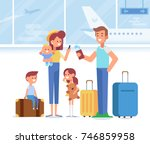 happy family travel together.... | Shutterstock .eps vector #746859958