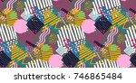 memphis seamless  pattern in... | Shutterstock .eps vector #746865484