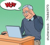 pop art happy senior man... | Shutterstock .eps vector #746865970