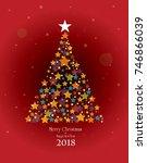 merry christmas. star tree. | Shutterstock .eps vector #746866039