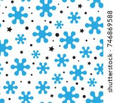 snowflake seamless pattern or... | Shutterstock .eps vector #746869588