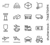 thin line icon set   delivery ... | Shutterstock .eps vector #746870494
