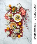 flat lay chinese new year... | Shutterstock . vector #746870650