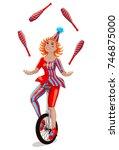 Circus Female Juggler On A...