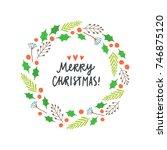 beautiful christmas plant... | Shutterstock .eps vector #746875120