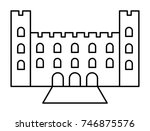 castle vector outline icon | Shutterstock .eps vector #746875576