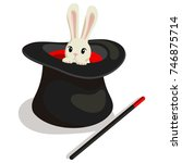 magic wand  hat and bunny for a ...   Shutterstock .eps vector #746875714