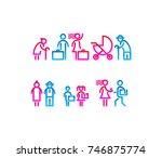 family silhouette icons flat... | Shutterstock .eps vector #746875774