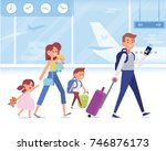happy family travel together.... | Shutterstock .eps vector #746876173