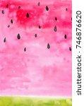 watercolor watermelon... | Shutterstock . vector #746876620