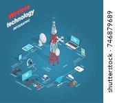 set of wireless technology... | Shutterstock .eps vector #746879689