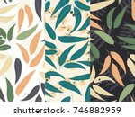 set of three seamless floral...   Shutterstock .eps vector #746882959