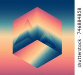abstract isometric cube with... | Shutterstock .eps vector #746884858