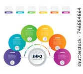 infographic with 6 processes on ... | Shutterstock .eps vector #746884864