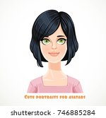 cute young brunette woman with... | Shutterstock .eps vector #746885284