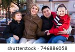 young family with two kids... | Shutterstock . vector #746886058