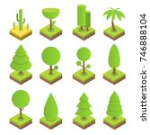 isometric tree set. big and... | Shutterstock .eps vector #746888104