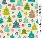 hand drawn christmas tree... | Shutterstock .eps vector #746888323