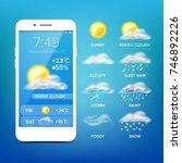 weather forecast app. realistic ... | Shutterstock . vector #746892226