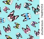 pattern with french bulldogs...   Shutterstock .eps vector #746892553