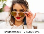 portrait of beautiful and sweet ... | Shutterstock . vector #746893198