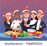 christmas corporate party....   Shutterstock .eps vector #746893924