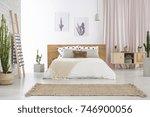 beige carpet in front of king...   Shutterstock . vector #746900056