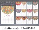 calendar 2018. vintage... | Shutterstock .eps vector #746901340