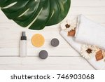white towel  cosmetics on a...   Shutterstock . vector #746903068
