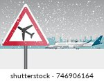 sigh of low flying aircraft on... | Shutterstock .eps vector #746906164