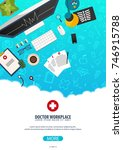 doctor workplace. medical... | Shutterstock .eps vector #746915788