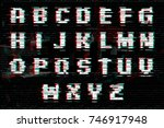 alphabet with glitch and noise... | Shutterstock .eps vector #746917948