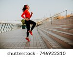 view at young woman exercising