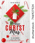 merry christmas party poster.... | Shutterstock .eps vector #746927524