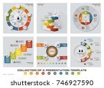 collection of 6 design colorful ... | Shutterstock .eps vector #746927590