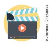vector cinema clapperboard for ... | Shutterstock .eps vector #746928538